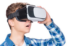 Teen boy in VR glasses Royalty Free Stock Image