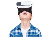 Teen boy in VR glasses Stock Photography
