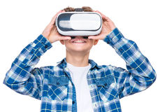 Teen boy in VR glasses Royalty Free Stock Photos