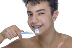 Teen Boy Wearing Braces On White Background Royalty Free Stock Photo