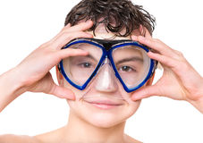 Teen boy wearing mask Royalty Free Stock Image
