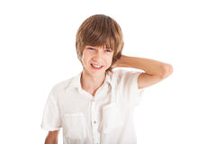 Portrait of teen boy. A teen boy wearing a white shirt, smiling face Royalty Free Stock Photo