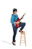 Teen Boy With Guitar. Royalty Free Stock Photos