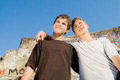 Teen boys. Two young teenagers boys together Royalty Free Stock Photography