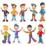 Teen boys, cartoon characters set  Royalty Free Stock Image