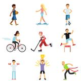 Teen boys and girls engaging in different sports activities, active lifestyle, sportive children practicing in class gym. And outdoors cartoon vector Royalty Free Stock Images
