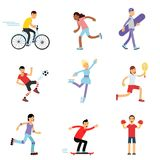 Teen boys and girls engaging in different sports activities, sportive children practicing in class gym and outdoors. Cartoon vector Illustrations on a white Stock Photos