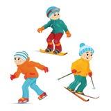 Teen boys skiing, snowboarding and ice skating Royalty Free Stock Image