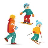 Teen boys skiing, snowboarding, playing snowballs Royalty Free Stock Images
