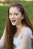 Teen with Braces Laughing Stock Image