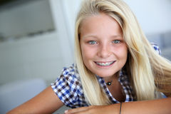 Teen with braces Royalty Free Stock Images