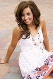 Teen brunette fashion model. A beautiful brunette teen female fashion model Royalty Free Stock Photos
