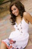 Teen brunette fashion model. A beautiful brunette teen female fashion model Stock Photos