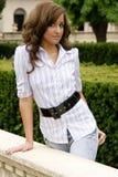 Teen brunette fashion model. A beautiful brunette teen female fashion model Royalty Free Stock Photo