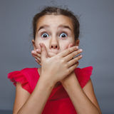 Teen brunette girl covering mouth with her hands Royalty Free Stock Photography
