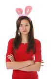 Teen with bunny ears Stock Images