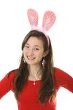 Teen with bunny ears Royalty Free Stock Photos