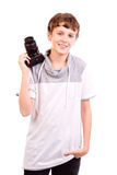 Teen with camera Stock Images