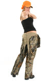 Teen in Camo. Beautiful 17 year old teen in camo overalls. Full body over white stock image