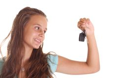 Teen with car keys Royalty Free Stock Image