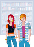 Teen Caucasian Couple In A Library Stock Images