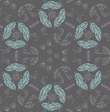 Teen chalk pattern on blackboard. Girl teen chalk pattern on blackboard with leafs, crown, crystal and feathers Royalty Free Stock Image