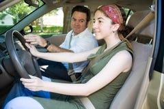 teen chaufförutbildning Fotografering för Bildbyråer