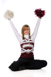 Teen Cheerleader With Pom Poms Royalty Free Stock Photography