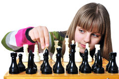 Teen with chess stock photo