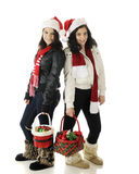Teen Christmas Sisters Stock Photo