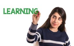 Teen college girl write learning on transparent screen royalty free stock photography