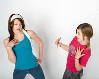 Teen conflict. Two teenage girls in conflict Royalty Free Stock Photo