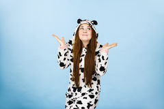 Teen confused girl wearing pajamas cartoon Royalty Free Stock Photos