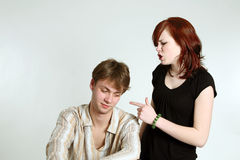 Teen couple arguing. Cute caucasian teen couple arguing stock photo