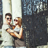 Teen couple bonding, posing together. Stock Images