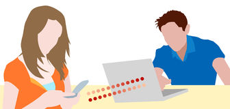 Teen couple chatting on devices Royalty Free Stock Images