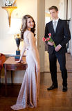 Teen Couple in Fancy Clothing royalty free stock photography