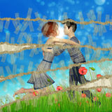 Teen couple on grass field Stock Photo