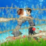 Teen couple on grass field royalty free illustration