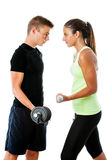 Teen couple having fitness challenge. Stock Image