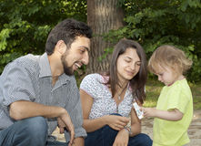 Teen couple with little girl Royalty Free Stock Image