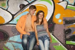 Teen couple at outdoor Royalty Free Stock Photo