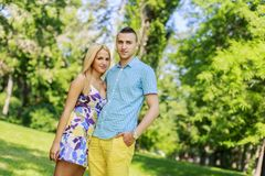 Teen couple in the park Royalty Free Stock Photography