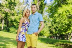 Teen couple in the park Royalty Free Stock Photos