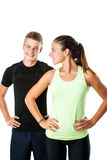 Teen couple ready for fitness workout. Royalty Free Stock Images