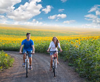 Teen couple riding bike in sunflower field Royalty Free Stock Photography