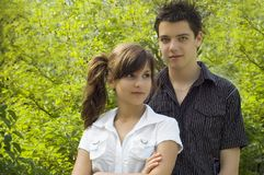 Teen couple smiling Royalty Free Stock Photography