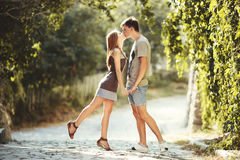 Teen couple together at street. Teen couple kissing at street. Summertime of our love stock photos