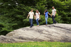 Teen couples hiking together Royalty Free Stock Photography