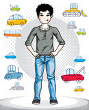Teen cute little boy standing in stylish casual clothes. Vector. Beautiful human illustration. Fashion and lifestyle theme cartoon Royalty Free Stock Photos